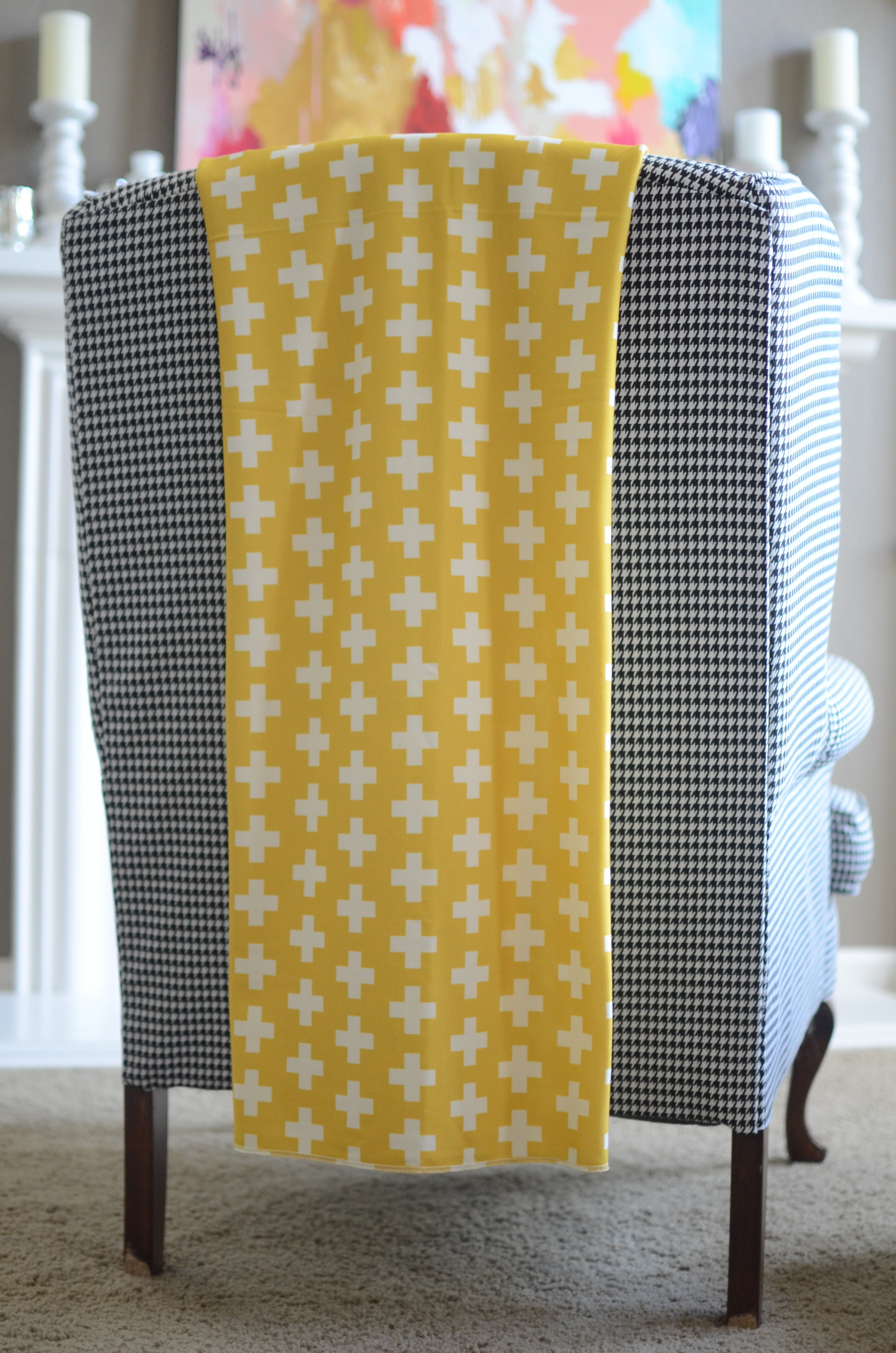 organic cotton throw blanket in mustard plus on Storenvy