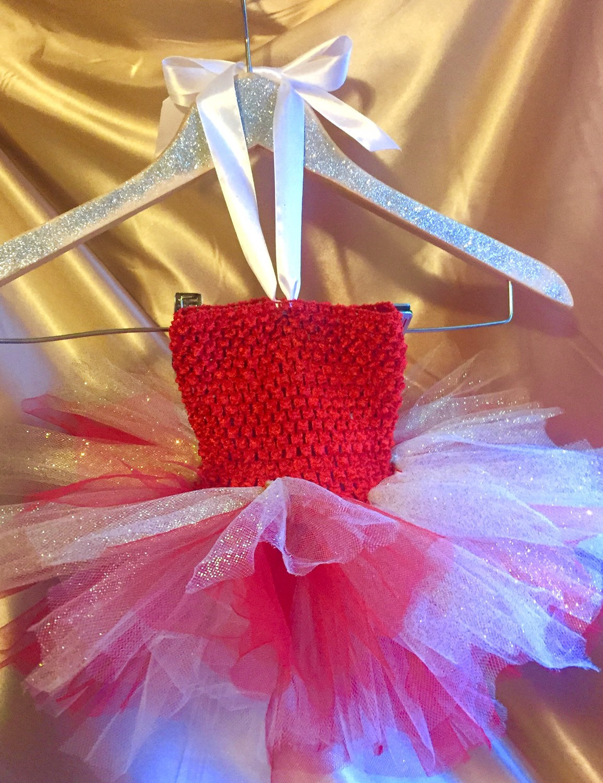 abc60b485d1 Christmas Holiday Full Tutu Dress Red White Gold Glitter Crochet Tulle Baby  Newborn 0 - 12
