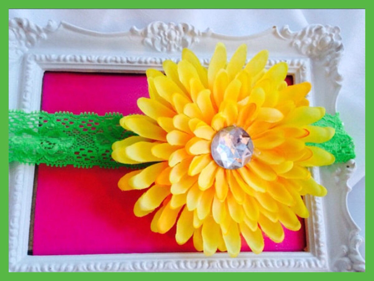 Yellow Dahlia Sunflower Daisy Flower Headband Baby Infant Toddler Girls  Rhinestone Lace Headband cdd4dc460f6