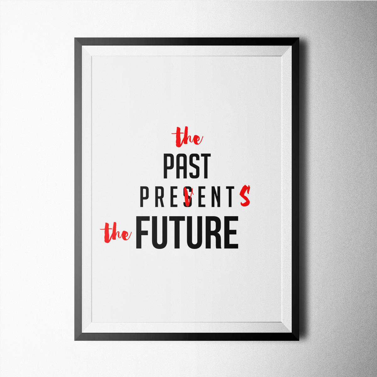 Past Present Future Poster Print Wallart Minimal Black And