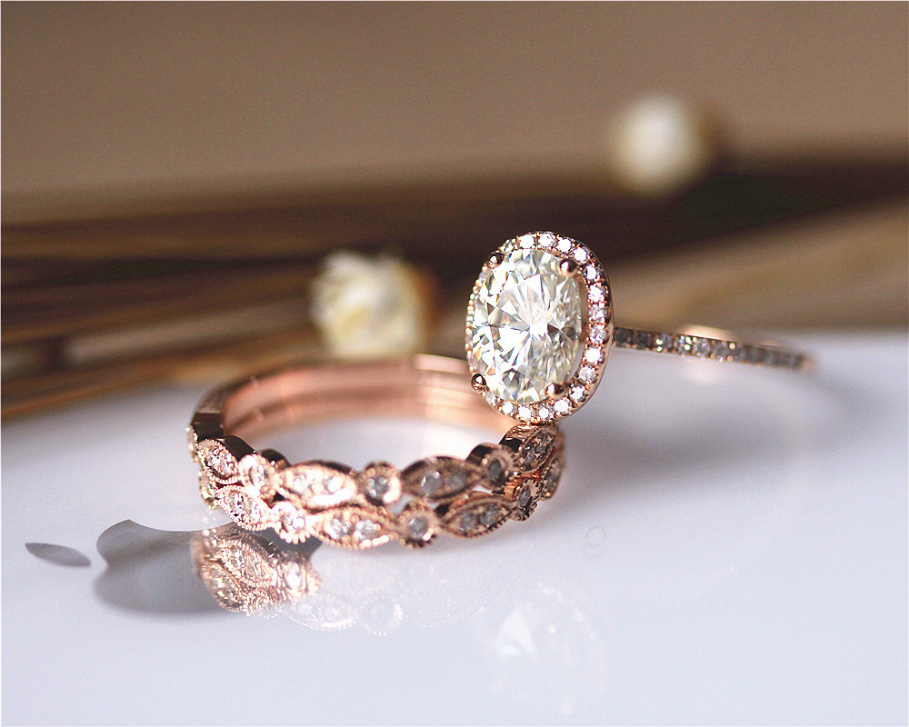 3PCS Ring Set ! 6x8mm Oval Brilliant Moissanite Ring Set Wedding ...