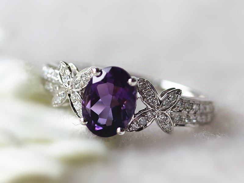 Amethyst Colored Stone Wedding Ring 14k White Gold 6x8mm Amethyst