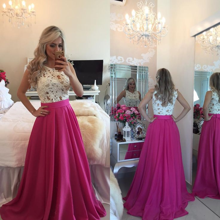 Fuchsia Lace Prom Dresses,Beaded Evening Dresses · 21weddingdresses ...