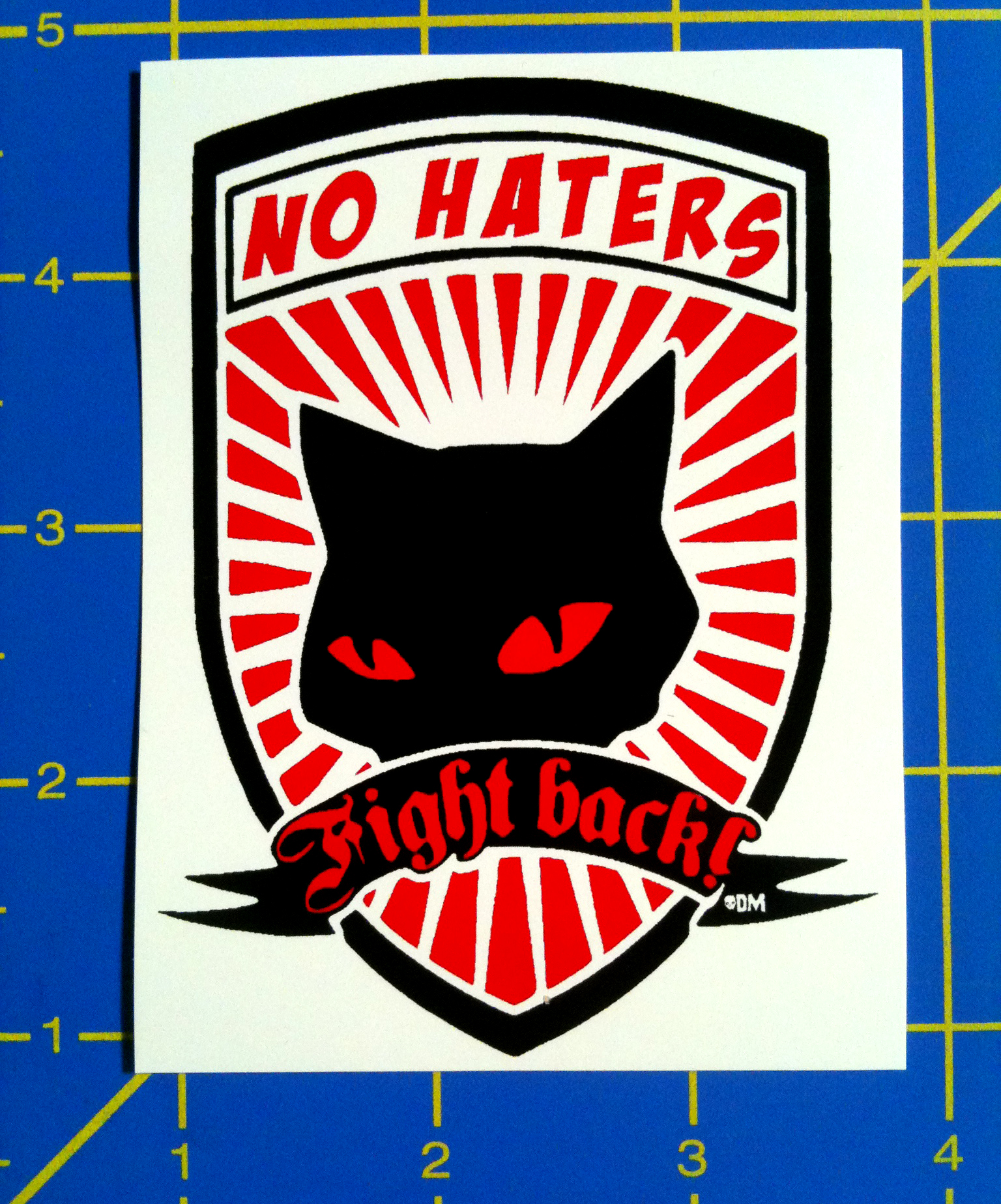 No Haters Fight Back - Red and Black Cat Anti-Racist AntiFa Vinyl Sticker  from Populous Ephemera