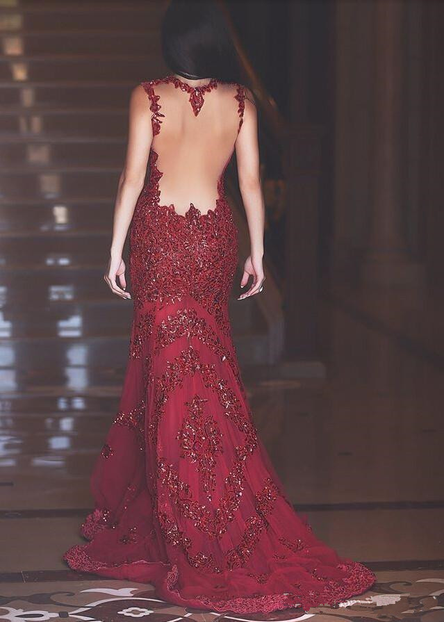 ... Elegant Mermaid Long Prom Dresses 2016 Sheer Illusion Back Court Train  Backless Evening Gowns - Thumbnail ... 85751f050d76