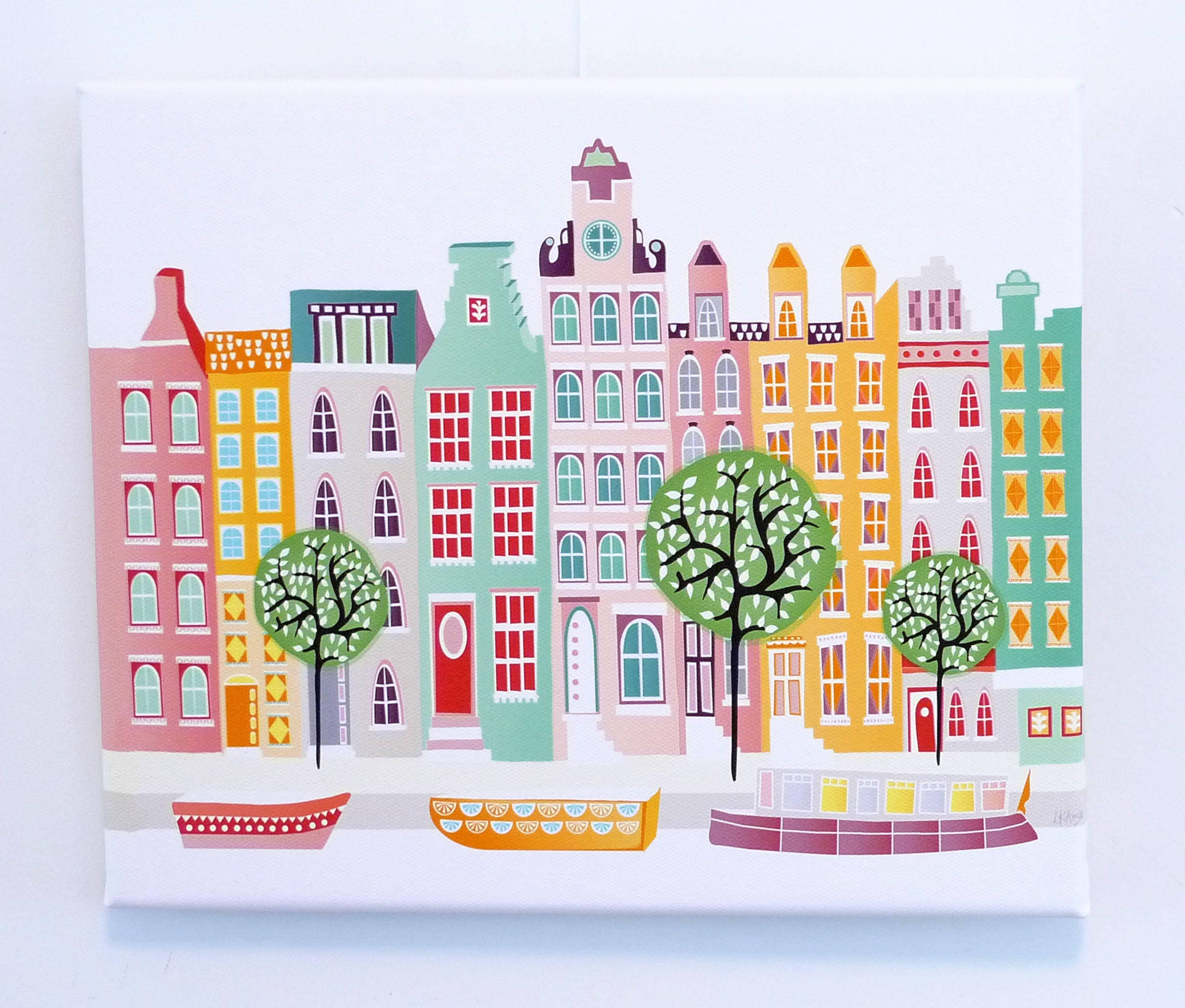 Amsterdam Wall Art, Canal Houses, Wall Art Canvas Print Framed, Dutch  Cityscape, Illustration, Home decor, Art for kids room, nursery, Gift sold  by