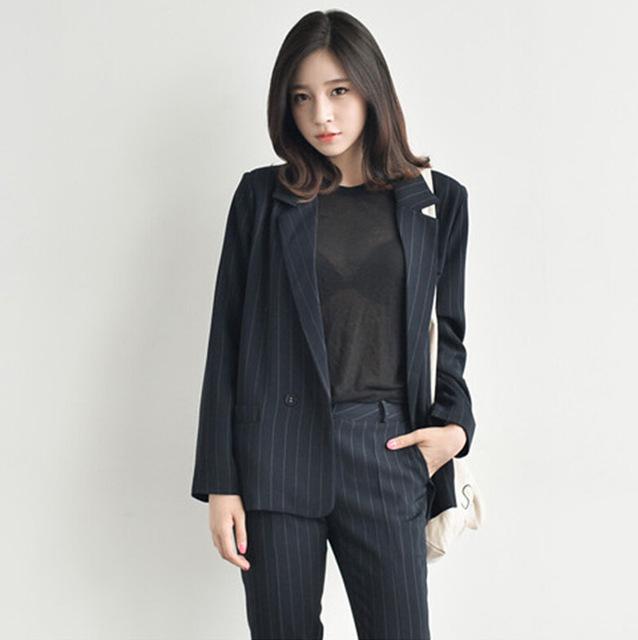 c23dbf3b2c0 Blazer women han guodong gates 2015 hitz korean women s literature show  thin vertical stripes suit