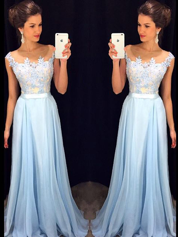 Prom Dresses For Curvy Girlslight Sky Blue A Line Bateau Chiffon
