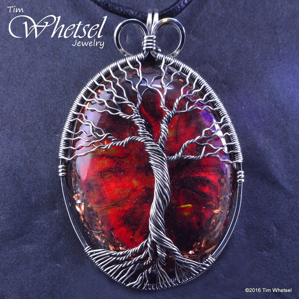 Sterling Silver Tree Of Life Wire Wrapped Dark Red