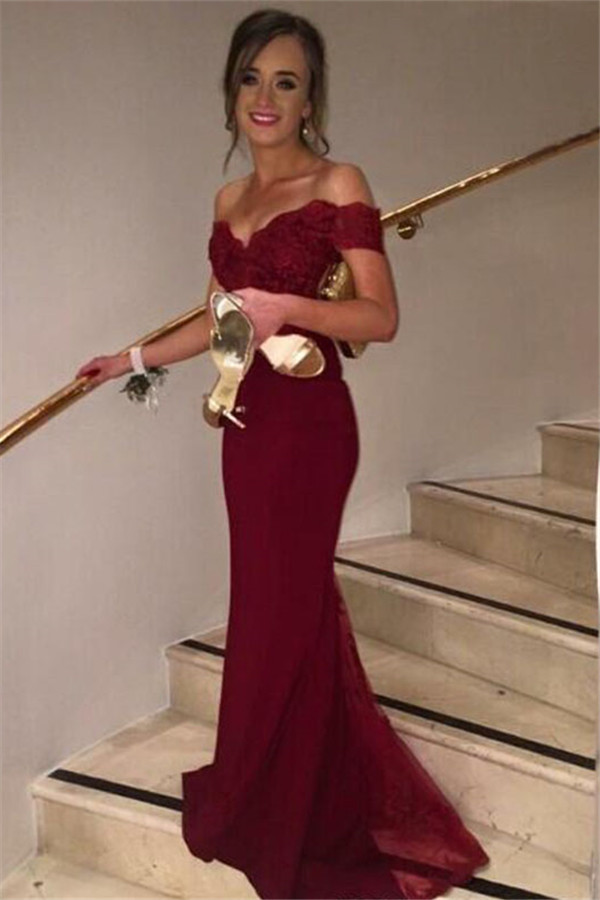 Off-shoulder mermaid embroidery floor-length long prom dresses 9bf3d54341e7
