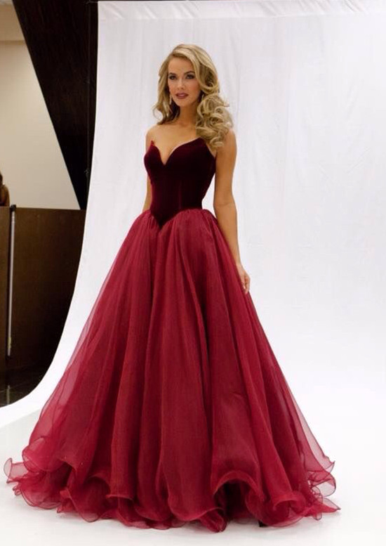 A Line Strapless Ruching V Neck Red Long Prom Dresses On Storenvy