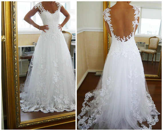 A-line Lace Low Back Chapel Train Wedding Dress,lace wedding dresses ...