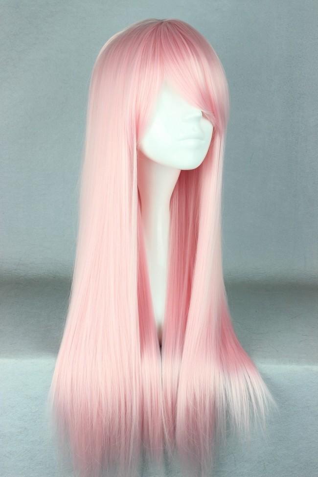 70cm Long Light Pink Beautiful Lolita Cosplay Wig