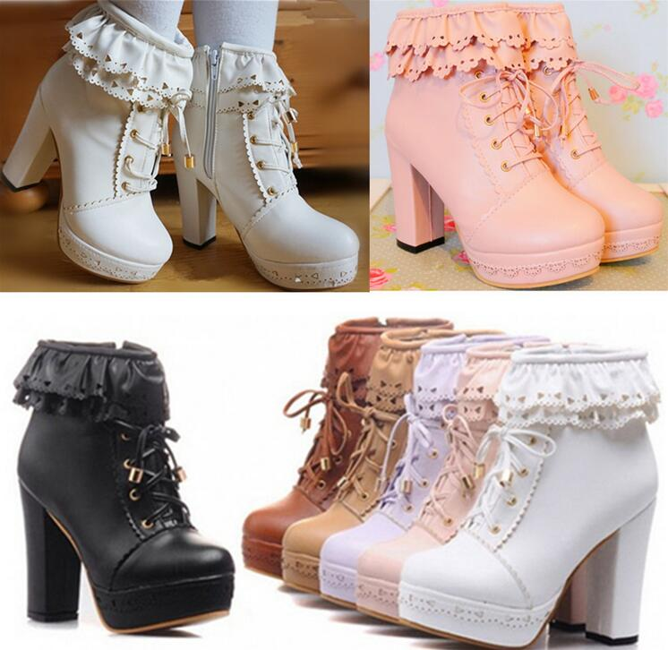 a7ccde58e2de Japanese sweet lolita falbala high-heeled boots on Storenvy