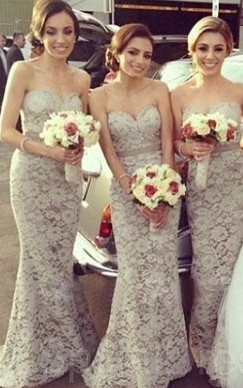 Floor Length Lace Bridesmaid Dresses
