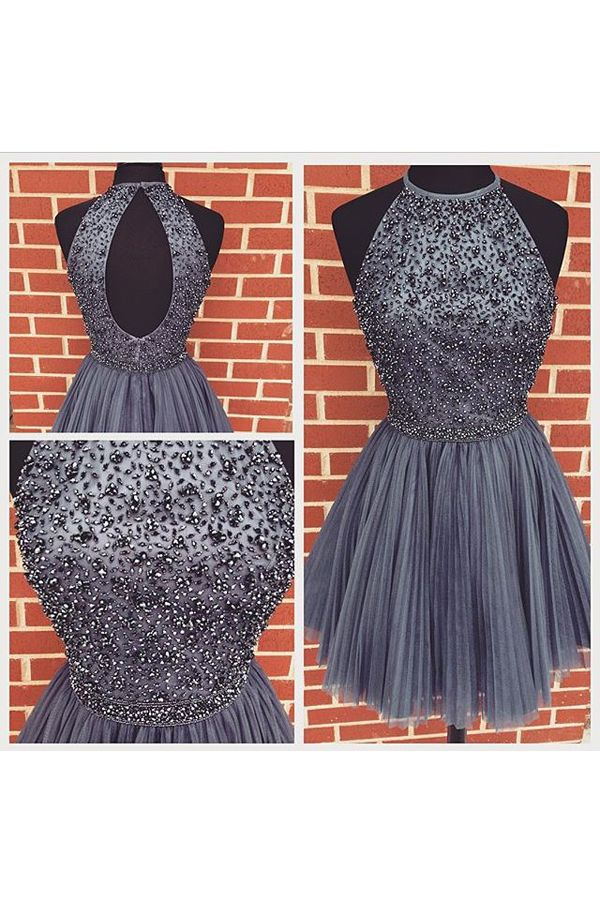 6cd9df44e3fc1 Homecoming Prom Dress A Line High Neck Prom Dresses Elegant Women Dress