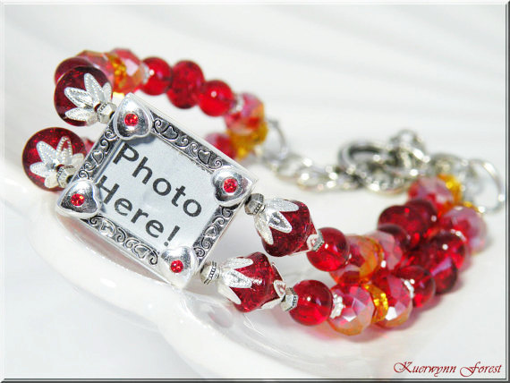 d04338caa8043 Red Crystal Bracelet, Photo Charm Bracelet, Siam & Fireopal Swarovski  Crystals, Sterling Silver from Kuerwynn's Jewelry and Potions