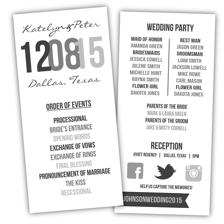 Printable Wedding Program Diy Wedding Program Wedding Program