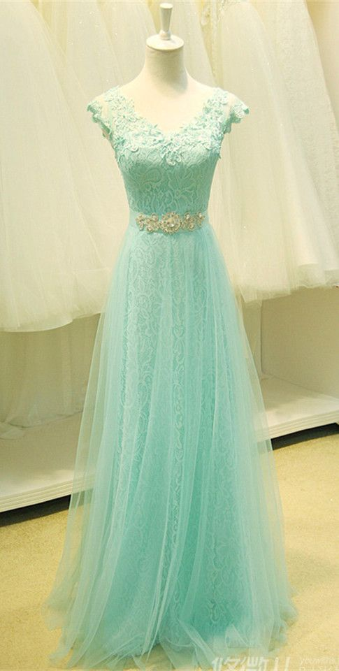 ac65650cb54 Floor Length Lace and Tulle Evening Dresses Beaded Waistband pst0026 ...