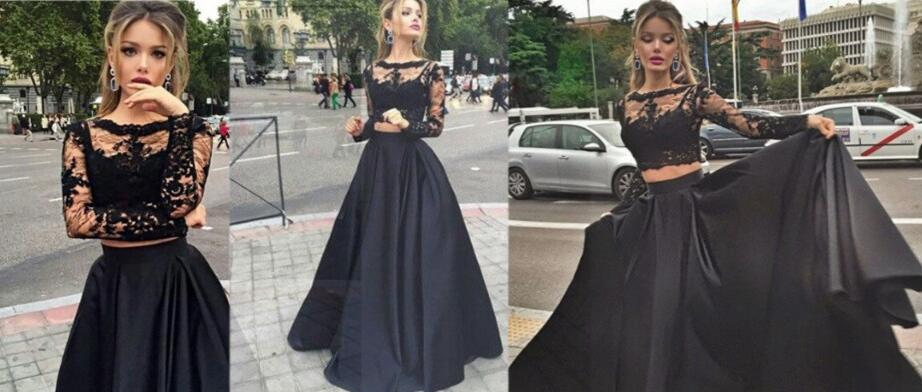 Long Sleeve Prom Dress 2016 2 Pieces Prom Dresses Black Prom Dress
