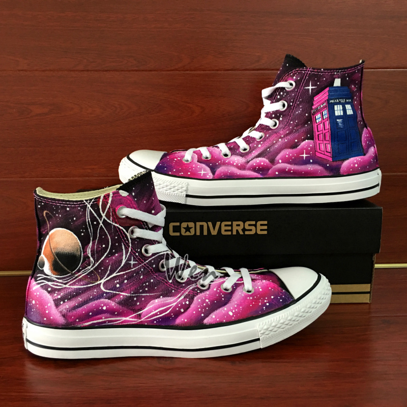 06a2ff62fdea2e Unique Converse All Star Chuck Taylor Pink Galaxy Police Box Custom ...
