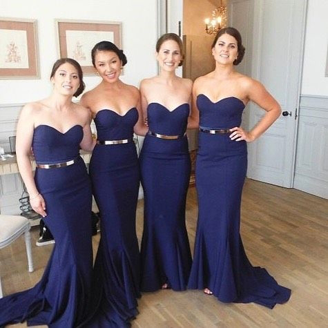 4e5c6d926cb0 Strapless Navy Blue Bridesmaid Dresses,Long Mermaid Bridesmaid Dress ...