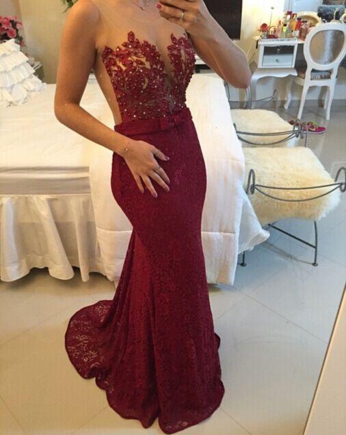 f61cacfa87 Mermaid Burgundy Prom Dress