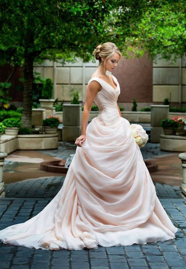 Blush Pink Wedding Dresses With Ruffles Sweetheart Vintage Bridal ...