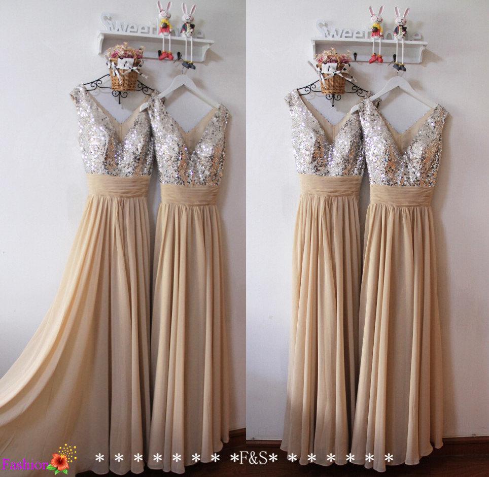 Sequin Prom Dresses,Champagne Mint Sequin Bridesmaid Dresses,Long ...
