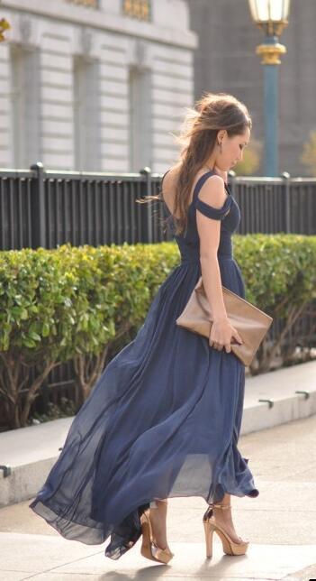 1759a5d33d Ocean Of Elegance dress social navy blue wedding guest party long prom  dresses
