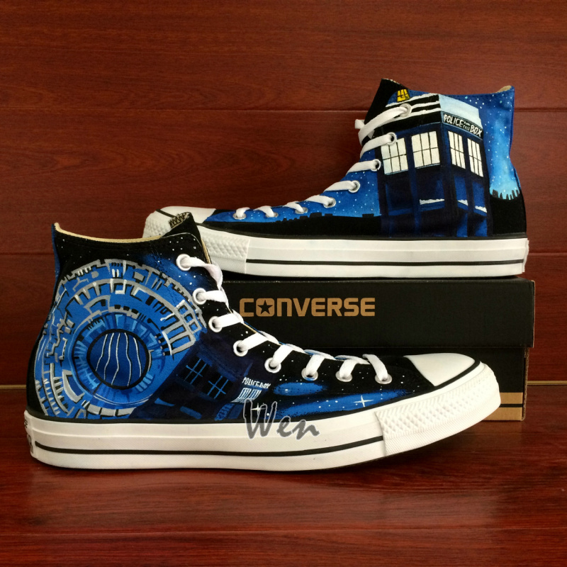 e2f6cc193e Police Box Converse All Star Custom Design Hand Painted Shoes Men ...