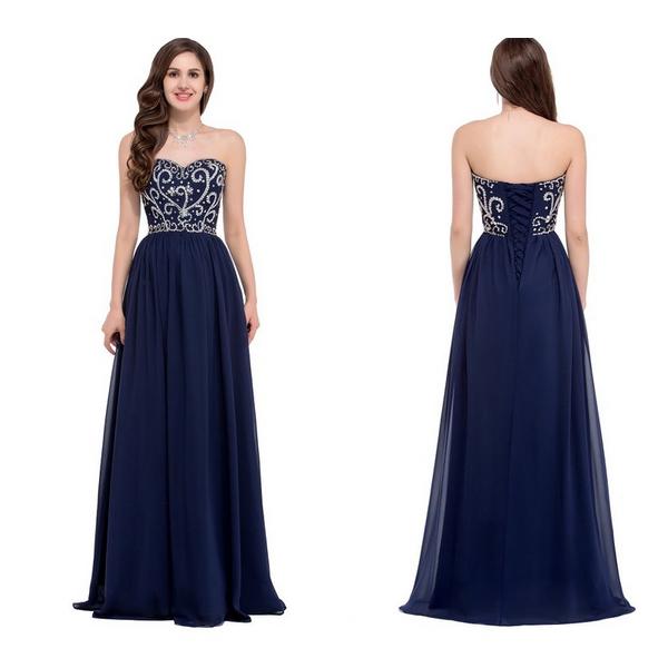 Navy Blue Prom Dresses Long Sweetheart Beaded Bodice Sparkly Elegant