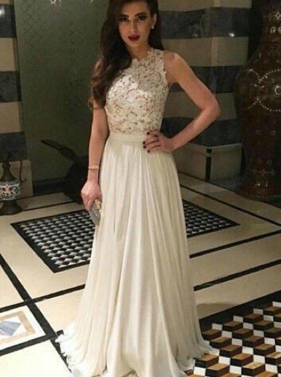 Ivory Appliques Charming Prom Dresses,Long Evening Dresses,Prom ...
