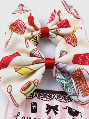 SALE! 1950s Diner Food Fabric Hair Bow Pin Up 50s Inspired Hair Clip Hot  Dog Fries Ketchup from Lavender Latte