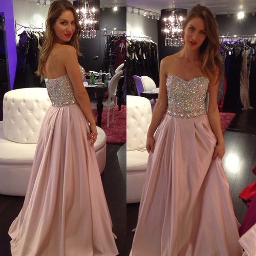 Sweetheart Crystal Beaded Prom Dresses With Pleats A Line Pastel