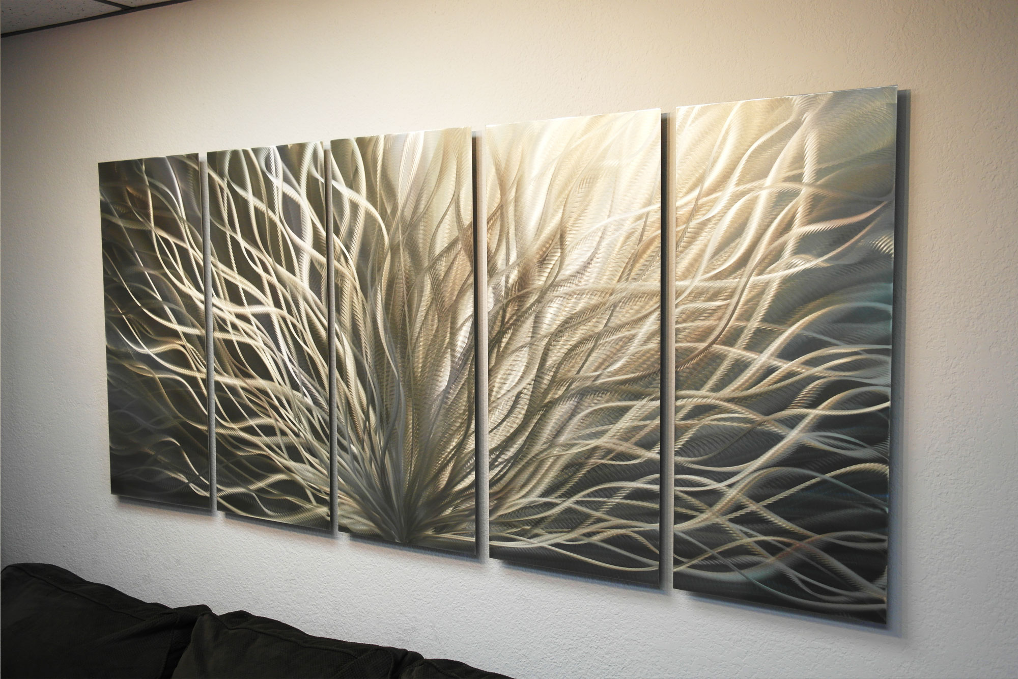 Large Radiance Gold Silver- Metal Wall Art Abstract