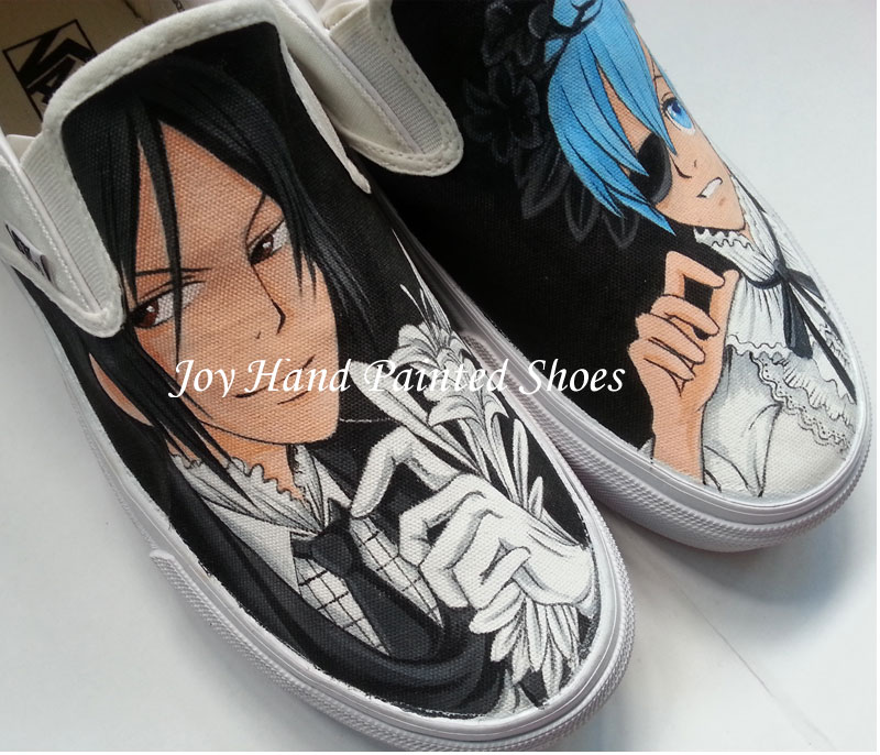 b48204cbc7f7fb Vans Black Butler Anime Shoes Hand Painted Anime Vans on Storenvy