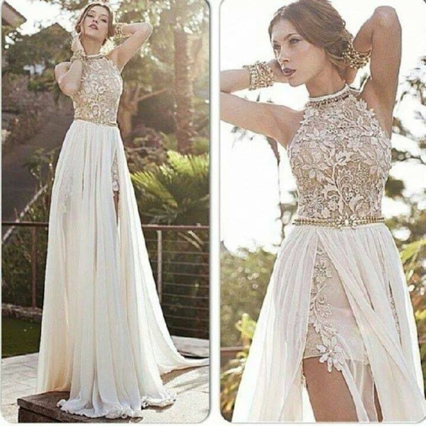 A-line High Neck Lace Bodice Ivory Chiffon Prom Dresses Beach ...
