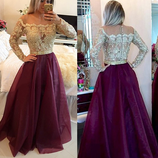 Long Sleeve White Lace Bodice Chiffon Skirt Elegant Simple: Chic Off The Shoulder Grape Prom Dress, Two Toned Prom