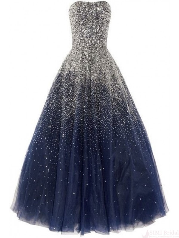 New Arrival Strapless Beading Tulle Floor Length Navy Blue Prom ...