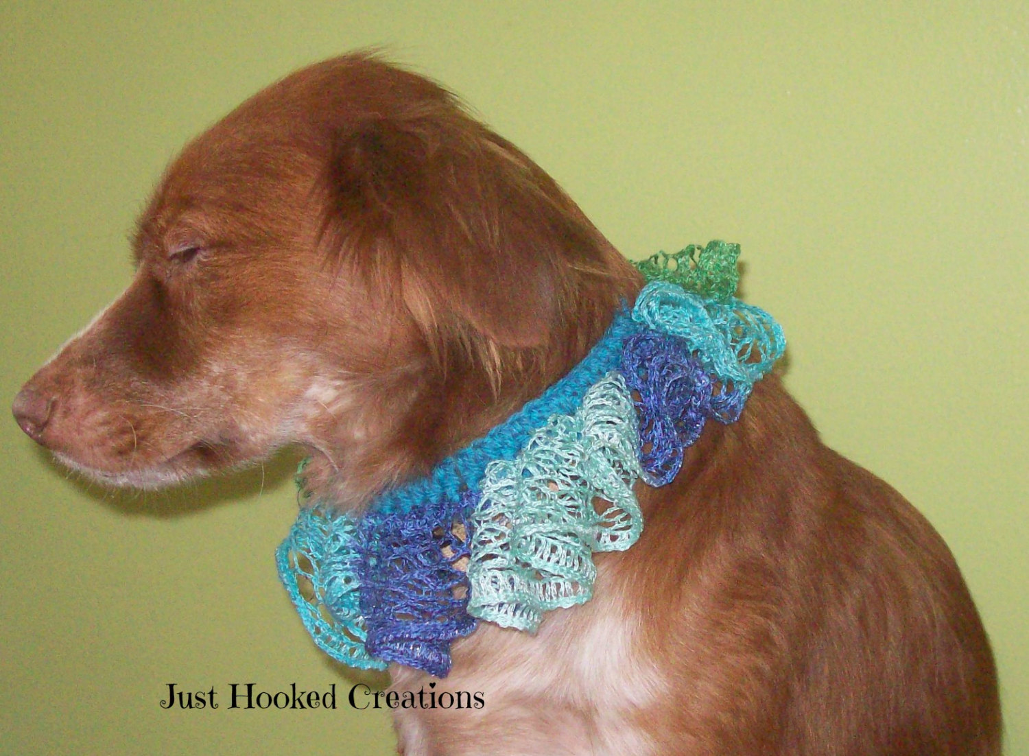 Crochet Ruffled Collar Accessory Several Colors Available Dog
