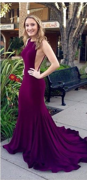 c216e8f7d2b Mermaid Bodycon Royal Sexy Backless Purple Prom Dresses 2016 Burgundy Long  Evening Dress