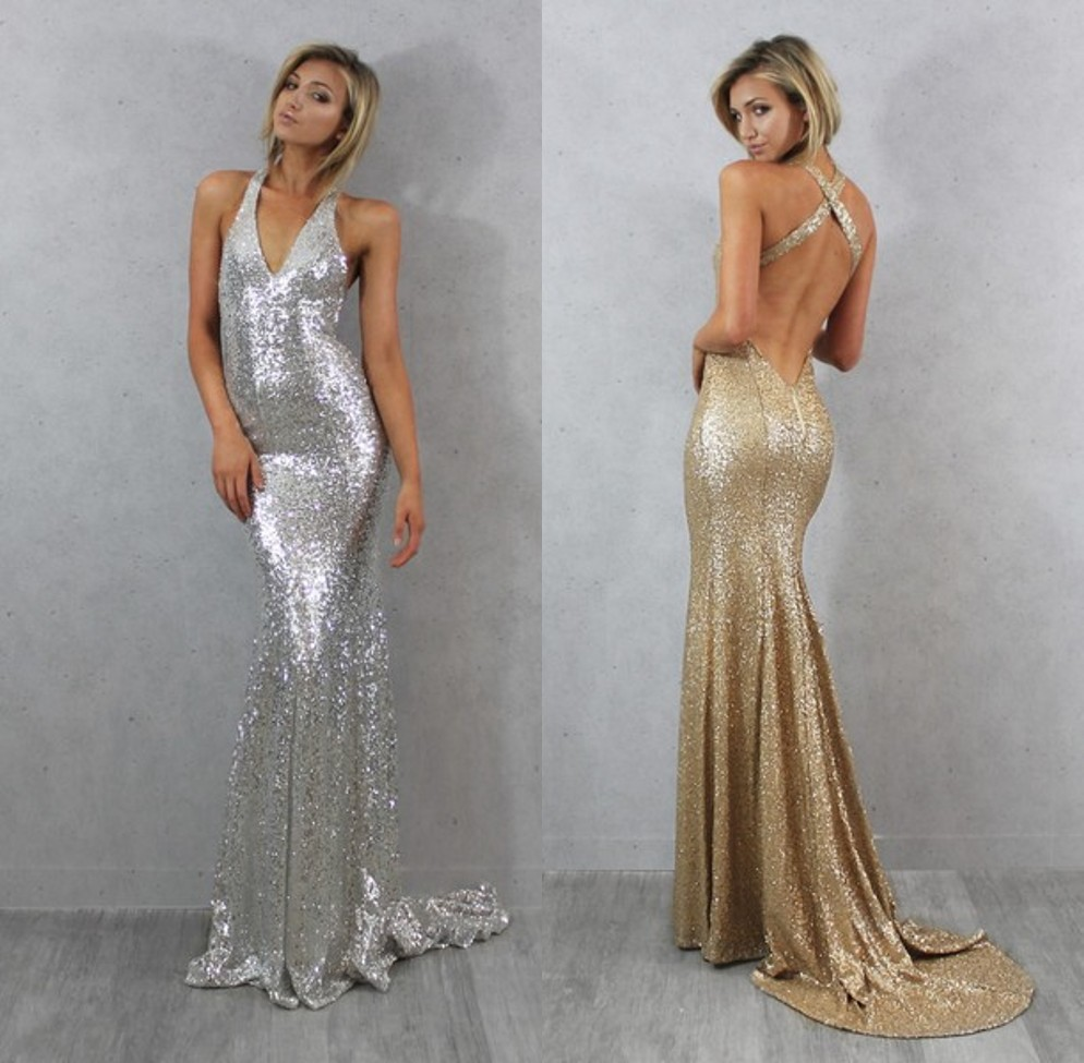 Sparkling v neck off the shoulder gold silver sequins mermaid backless  formal evening gown long prom 4dc1c8ecb