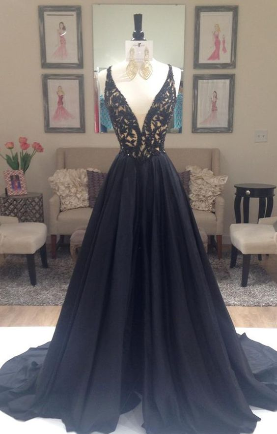 65c1b508a00ec black prom dress,black prom dress, A-line prom dress, v-neck prom dress gown,  party dress, BD15890 on Storenvy