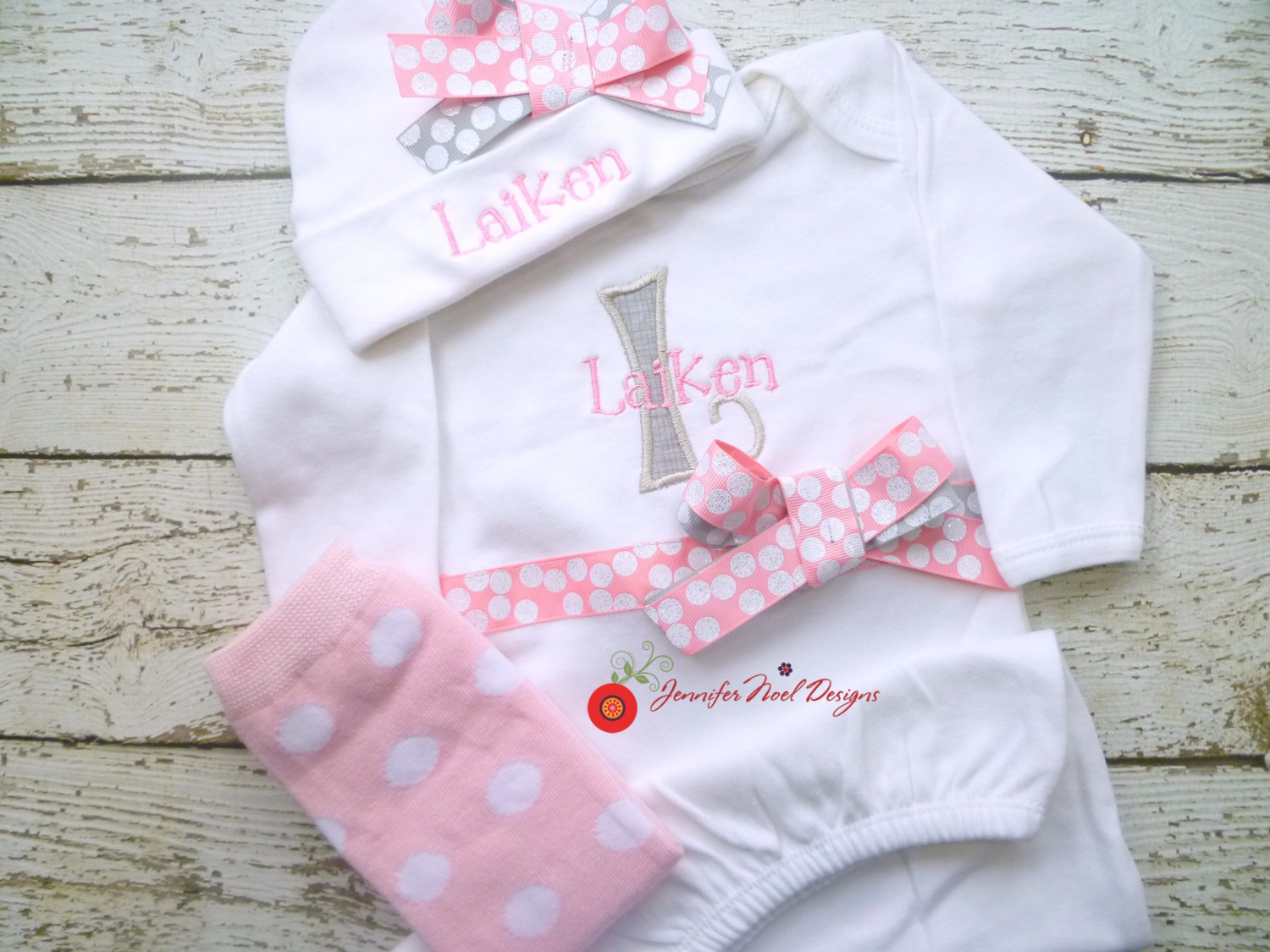 7a2fda10c Newborn girl take home outfit, Personalized Girls Pink and Grey ...