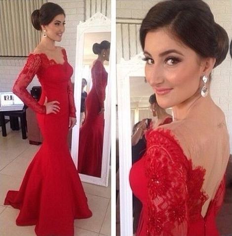 573d7f1d2a5 Off the Shoulder Long Sleeve Red Lace Mermaid Evening Dresses