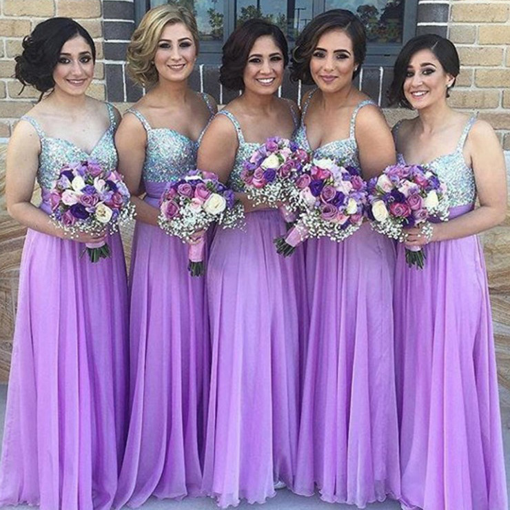 cheaper buy best bottom price Classic Long A-line Bridesmaid Dress, Lavender Bridesmaid Dress, Beaded  V-neck Chiffon Bridesmaid Gowns with Shining Beads, #01012777 from VanessaWu
