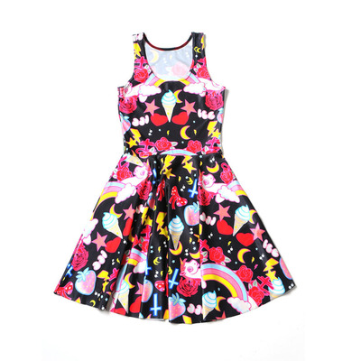 85196c8ed3d Xs s m l xl black pastel pink blue unicorn cross star ice cream bow print  sleeveless mini