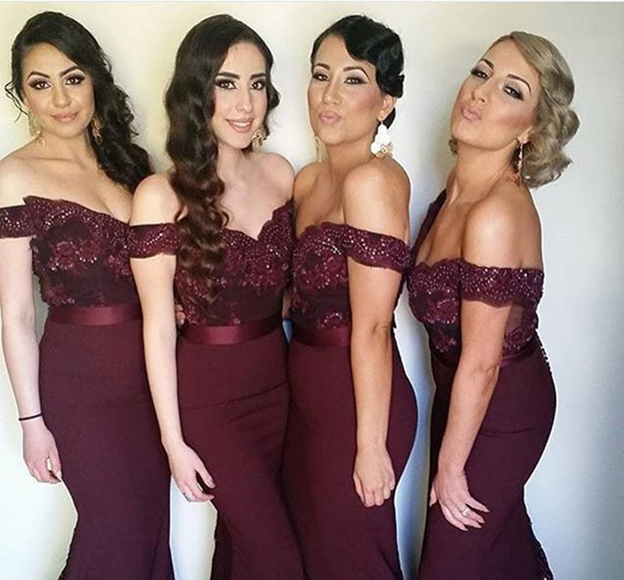1b64ed1511c Wine off shoulder mermaid long cheap lace top bridesmaid dress