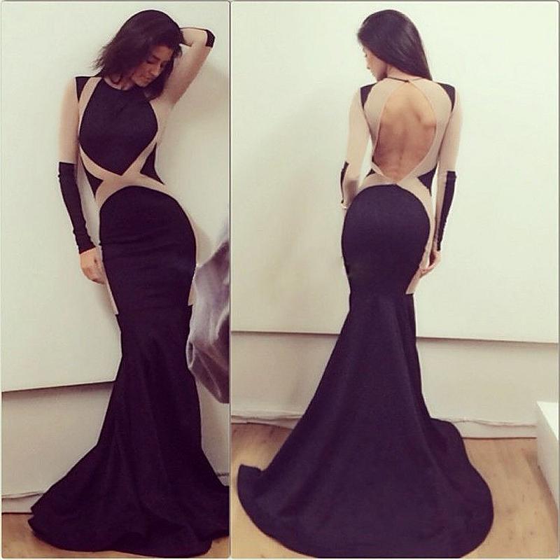 bea5cb4f878a Formal black charming mermaid backless long sleeves prom dress,long sleeves  evening dress,FS100